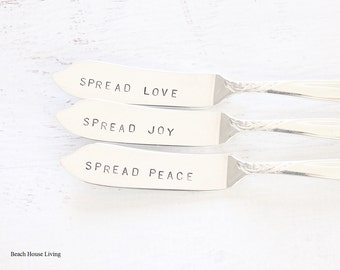 Stamped Silverware Spread Joy, Love, Peace Butter Knife Set, Jam Spreaders Ornate Silver Plate Roses Table Decor