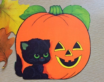 HALLOWEEN Black Cat-Smiling Pumpkin-Vintage Die Cut-Wall Window-Hanging-Orange Black-Thick Paper-Little Kitten-8x8-PERFECT Condition-Party