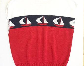vintage 80s Nautical Sweater, Sailboat Sweater vest