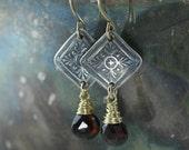 Downton Abbey Drop Earrings, Garnet January Birthstone -  Sterling Silver, Dangle