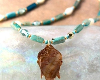 Lyme Sale Turquoise Ancient Roman Glass Necklace Rare Color Two Strands with Vintage MOP and Delicate MOP Buddha Artisan Jewelry