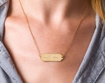 Call Me... Custom Engraved Gold Brass Nameplate Necklace, Personalized for Free