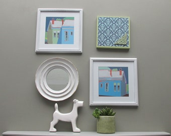 "wall collage - ""Carriage House Goods"" - wall art gallery - 4 pieces - cottage white"