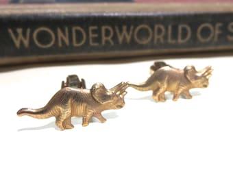 Raw Brass Dinosaur Cuff Links - Triceratops jurassic park Wedding Cufflinks Soldered Graduation Fathers Day Birthday Gift Men Man