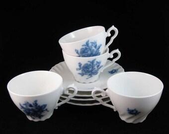 German Rheinpfalz Hartporzellan Blue Rose Tea Cups & Saucers (4 Sets)