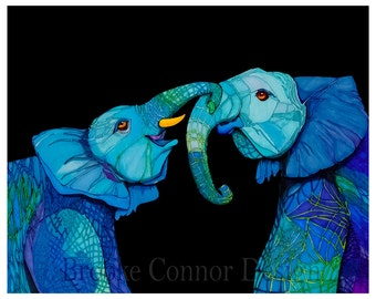 Elephant Friends Forever Giclee Print