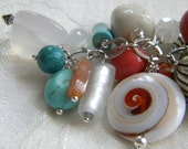 Turquoise and Coral Elegant Purse Charm