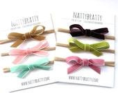 Velvet Bow Headbands - Baby Headbands - Newborn Headbands - Sweet Mini Bows for Spring - Baby Girl Gift - Simple Modern Velvet Ribbon Bow