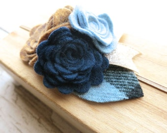 Felt Flower Baby Headband - Blue Beige Brown Rosette Bouquet - Plaid and Glitter Accents - Holiday Party Hairband