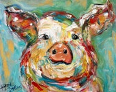 Pig print on canvas made from image of past painting by Karen Tarlton fine art