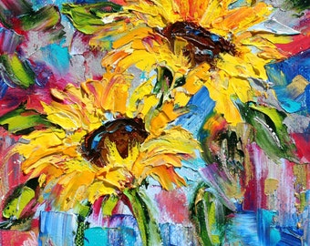Sunflower Joy print made from image of Original painting by Karen Tarlton fine art impressionism