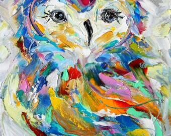 Original oil painting Owl portrait palette knife impressionism on canvas fine art by Karen Tarlton