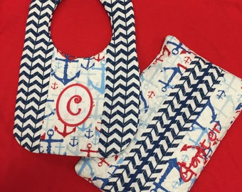 Matching Quilted Bib and Wipe Bag with Anchors and Personalized Monogram or Name