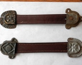 2 new leather trunk straps with 4 matching original ends choice of style