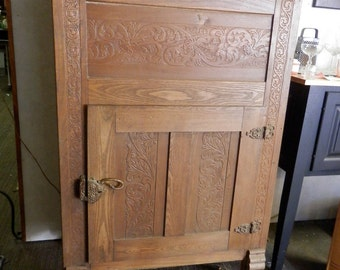 Antique ash ice box unusual press carved original hardware