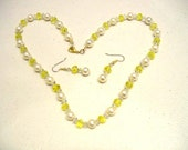 Bright Yellow and Crystal Necklace and Matching Earrings