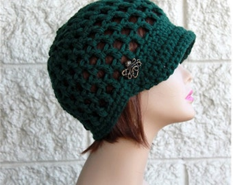 Brim  Hat Crochet Teens Brim  Hat Womens Brim Beanie   Brimmed Hat   Newsboy Hat Octopus Button