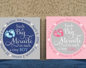 12 x 12 Baby Birth Announcement Canvas, Hand Painted Nursery Canvas, Custom Wall Art, Canvas Wall Quotes, Nursery Decor, Baby Shower Gift