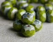 Picasso Czech glass rondelles, Fire polished faceted donut beads, 6X9mm, glass donut beads, lime green &  Picasso (20pcs) NEW