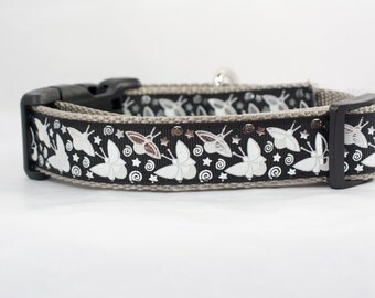Glow in the Dark Collar - Glow Dog Collar - 1 inch wide - Fireflies dog collar - firefly dog collar - lightning bug collar - black collar