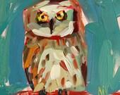 Owl no. 6 Bird Art Print by Angela Moulton 8 x 8 inch