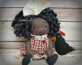 Little  Annie Mae and  Chicken  Primitive folk art doll cute Fantasy button eye  Black Americana Gift Handmade OOAK  Country decor