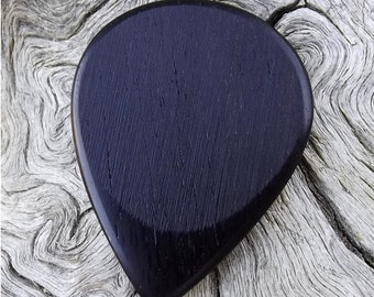 Wood Guitar Pick - Premium Quality - Handmade With African Blackwood - Actual Pick Shown - Artisan Guitar Pick - Classic Teardrop Shape
