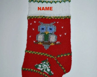 Owl Christmas stocking personalized hand knit . Baby first Christmas stocking. Christmas decoration. Holiday home decor. Ready to ship