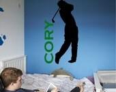 Custom Personalized Golf Wall Decal Removable Golf Wall Sticker Art (Add custom Name)