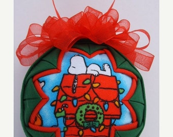 Christmas In July Sale SNOOPY/Quilted Ornament/Fabric Ornament/Holiday Ornament/Holiday Decor/Handmade Gift