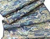 Vintage Kimono Fabric vintage Japanese silk kimono fabric Navy blue gold Asian river scene floral soft silk dress fabric kimono fabric 1yd