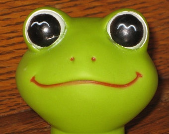 Vintage Vinyl Frog Doll Head Supply Craft Doll Making Altered Art Green Frog Supplies