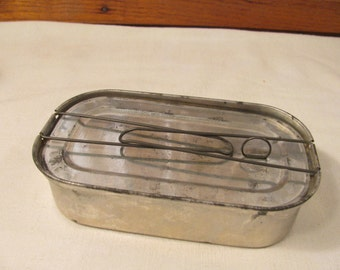 Vintage Unusual Tin w/ Fold Down Handles and Ring Pull Recessed Lid - Sterilizing Tin?