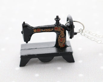 Sewing Machine Necklace on silver chain - vintage style singer sewing machine