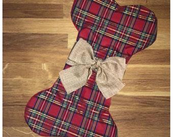 Dog Christmas Stocking- Plaid stocking w/ gold bow or burlap bow