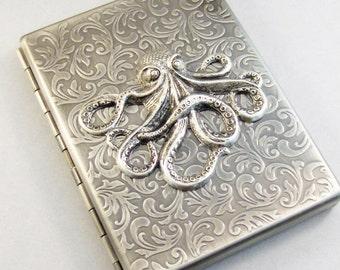 Silver Octopus Cigarette Case,Cigarette Case,Octopus,Steampunk Octopus,Silver Case,Antiqued Silver ,Gothic,Victorian,Steampunk Accessories