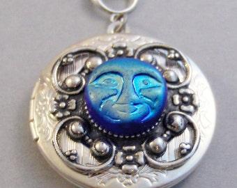 Luna Blue,Goddess,Goddess Necklace,Goddess Moon,Moon Necklace,Blue Moon,Locket,Antique Locket,Silver Locket, Locket,Moon, Locket,Moon Girl