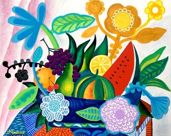 Flowers and fruits. Original painting folk art ,wall art, luxury, flowers, floral, style, decor.