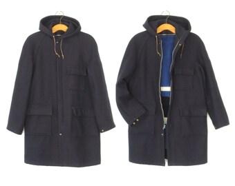 Oversized Wool Parka * Vintage Anorak Jacket * Hooded Wool Coat * Medium - Large