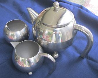 Art Deco Style Chrome-Stainless Teapot Set