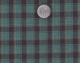 """Navy Blue ~ Cream ~ Dark Teal  Plaid Fabric ~ 14"""" x 42"""" Remnant ~ Material 4 Scrap Quilt Piecing - Fun Sewing Projects  Inventory # PL 6"""