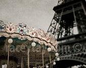Paris Carousel & Eiffel Tower Print, Brown, Gold, Blue, Neutral, Rustic, Paris Photography, Sepia