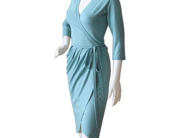 Asymmetric Wrap Dress Wrap dress with 3/4 sleeves Blue Wrap Dress Asymmetric V-neck Dress Day Dress Day Wrap Dress Made to Measure Dress