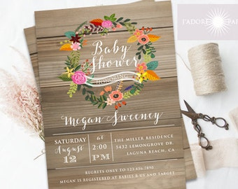 Baby Shower Invitation, Floral Wreath Baby Shower, Rustic Baby Shower Invite, Vintage Baby Shower, Printable, Gender Neutral, jadorepaperie