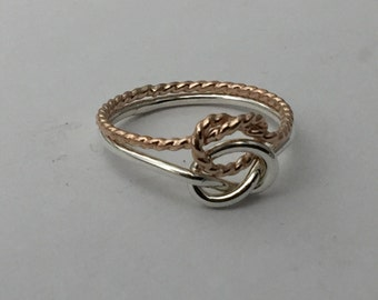 Rose gold and sterling silver love knot ring, double knot, two tone knot, lovers knot ring