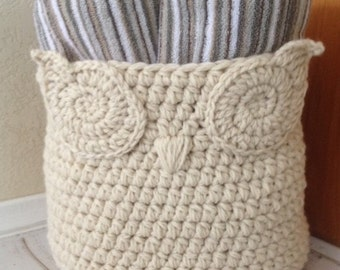 Crochet Owl Basket, Owl Basket Toy Bin, Owl Nursery Basket, Nursery Accessory, Nursery Decor,House Warming gift,Shower Gift,Towel Basket