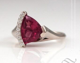 Pink Rubelite Tourmaline Captured by Diamonds - 14k white gold