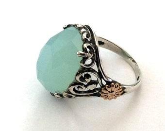 Birthstone Ring, silver engagement ring, silver gold ring, jade ring, gemstone ring, boho ring, unique ring for her -  Soul mate R2164