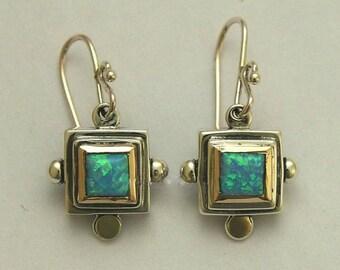 Opal Earrings, sterling silver earrings, silver gold earrings, blue opal earrings, gemstone earrings, two tone earrings - Blue Echoes E0265