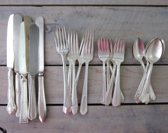 Silverplate Flatware Set Mismatched Service for Six 24 Pieces